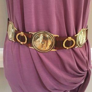 Vintage Lady Captiva Brown Genuine Leather belt